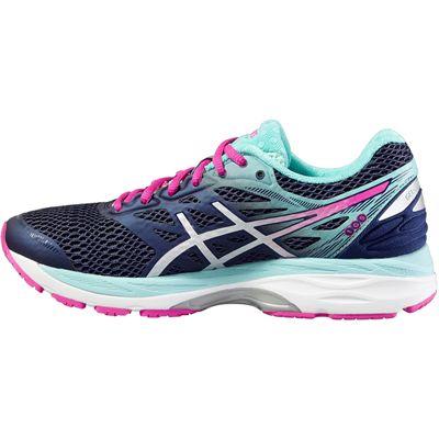 Asics Gel-Cumulus 18 Ladies Running Shoes-Blue-Silver-Pink-Side