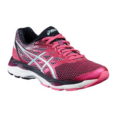 Asics Gel-Cumulus 18 Ladies Running Shoes-Pink-Blue-Black-Angled