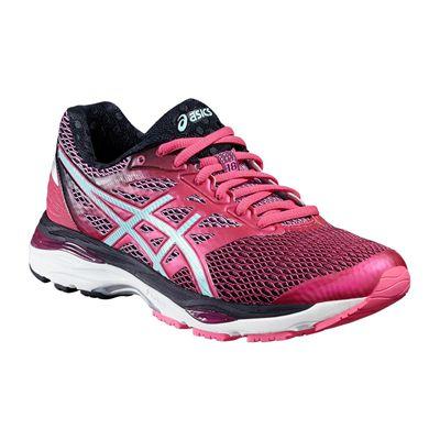 Asics Gel-Cumulus 18 Ladies Running Shoes-Pink-Blue-Black-Angled