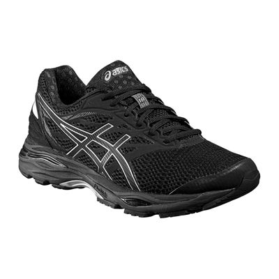 Asics Gel-Cumulus 18 Mens Running Shoes-Black-Silver-Black-Angled
