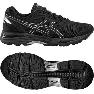 Asics Gel-Cumulus 18 Mens Running Shoes-Black-Silver-Black