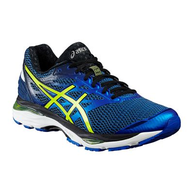 Asics Gel-Cumulus 18 Mens Running Shoes-Blue-Yellow-Black-Angled