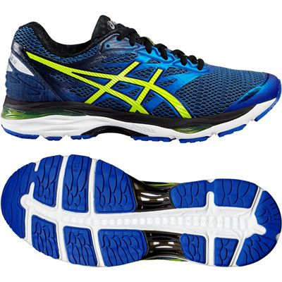 Asics Gel-Cumulus 18 Mens Running Shoes-Blue-Yellow-Black