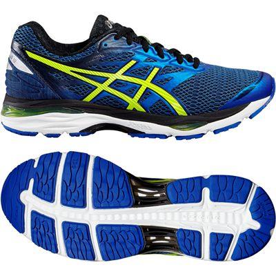 Asics Gel-Cumulus 18 Mens Running Shoes-Blue-Yellow-Black