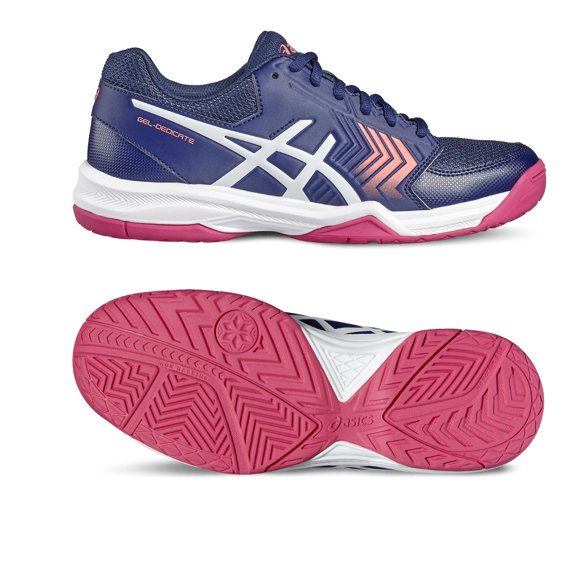 Asics GelDedicate 5 Ladies Tennis Shoes  BluePink 6.5 UK