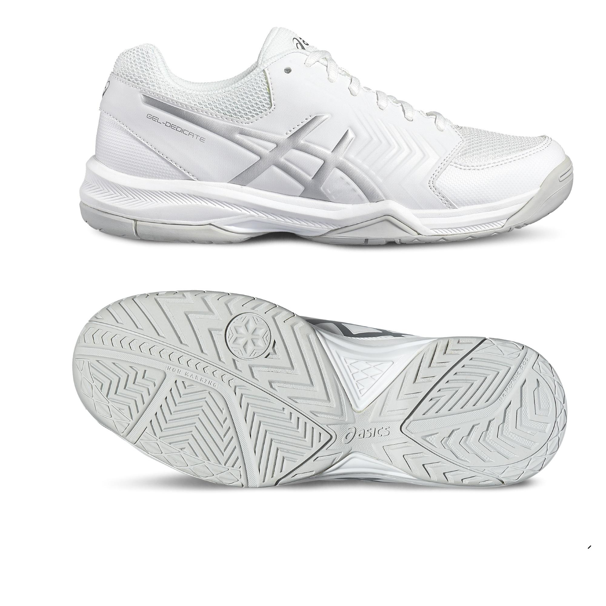 Asics GelDedicate 5 Ladies Tennis Shoes  WhiteSilver 5.5 UK