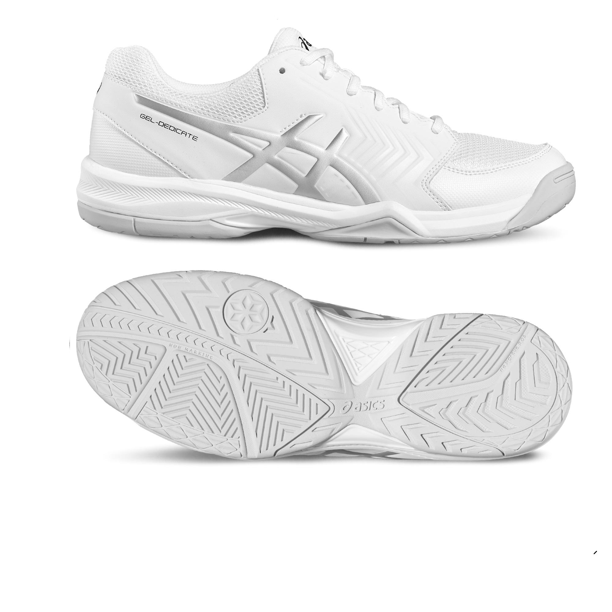 Asics GelDedicate 5 Mens Tennis Shoes  WhiteSilver 11 UK