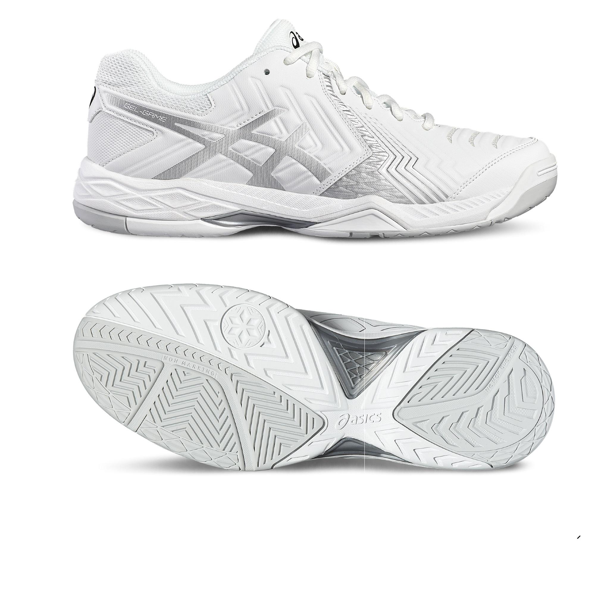 Asics GelGame 6 Ladies Tennis Shoes  WhiteSilver 6.5 UK