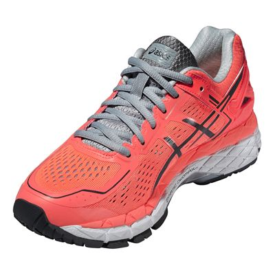 Asics Gel-Kayano 22 Ladies Running Shoes-Red and Black-Angle View