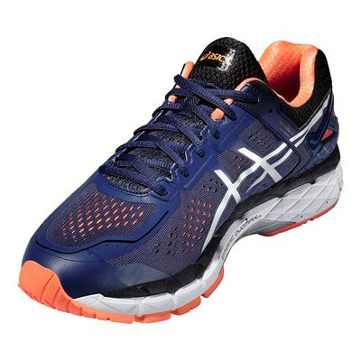 Asics Gel-Kayano 22 Mens Running Shoes-Blue and Silver and Orange-Angle View