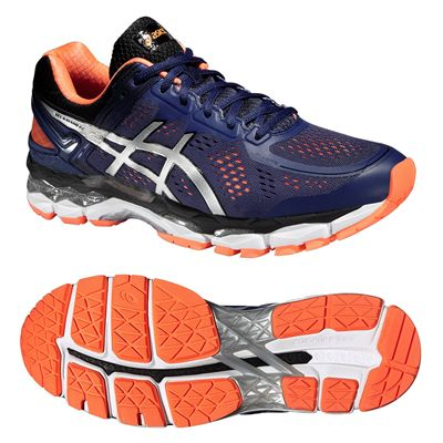 Asics Gel-Kayano 22 Mens Running Shoes-Blue and Silver and Orange