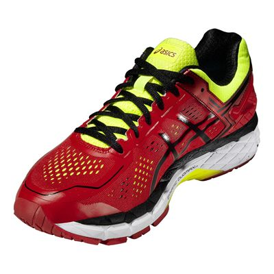 Asics Gel-Kayano 22 Mens Running Shoes-Red and Black and Yellow-Angle View