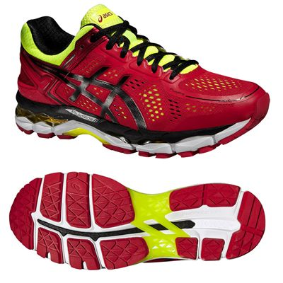 Asics Gel-Kayano 22 Mens Running Shoes-Red and Black and Yellow