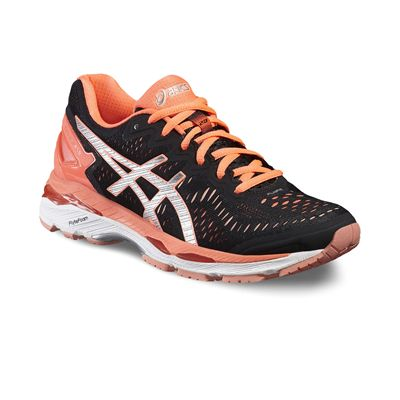 Asics Gel-Kayano 23 Ladies Running Shoes-Black/Silver/Orange-Angled
