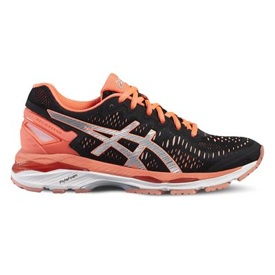Asics Gel-Kayano 23 Ladies Running Shoes-Black/Silver/Orange-Side