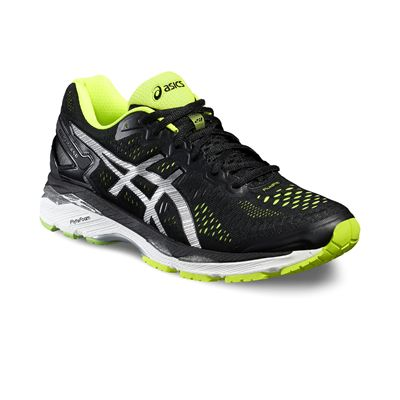 Asics Gel-Kayano 23 Mens Running Shoes-Black/Silver/Yellow-Angled