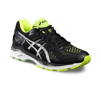 Asics Gel-Kayano 23 Mens Running Shoes-Black/Silver/Yellow-Angled