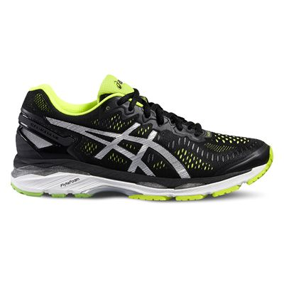 Asics Gel-Kayano 23 Mens Running Shoes-Black/Silver/Yellow-Side