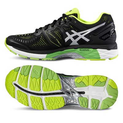 Asics Gel-Kayano 23 Mens Running Shoes-Black/Silver/Yellow