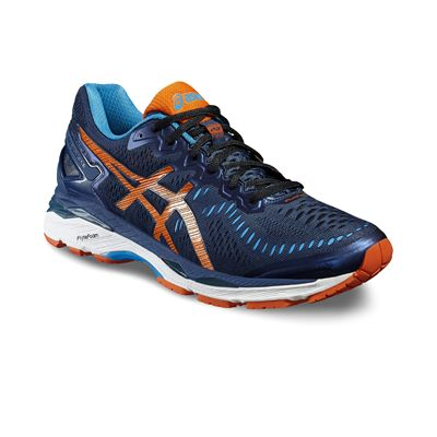 Asics Gel-Kayano 23 Mens Running Shoes-Navy/Orange/Blue-Angled