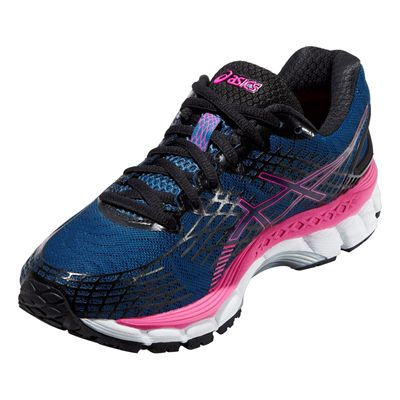 Asics Gel-Nimbus 17 Ladies Running Shoes - Blue Pink - Angle View
