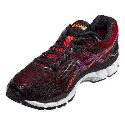 Asics Gel-Nimbus 17 Mens Running Shoes-Black and Red - Angle View