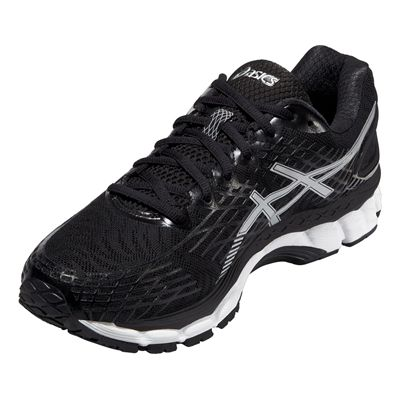 Asics Gel-Nimbus 17 Mens Running Shoes - Black White - Angle View