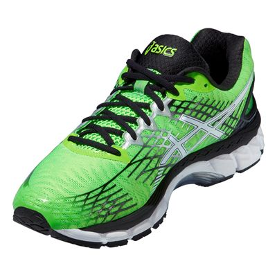 Asics Gel-Nimbus 17 Mens Running Shoes - Green White Black - Angle View
