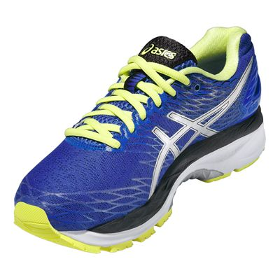 Asics Gel-Nimbus 18 Ladies Running Shoes-Purple and Silver and Green-Angle View