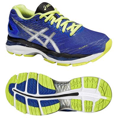 Asics Gel-Nimbus 18 Ladies Running Shoes-Purple and Silver and Green