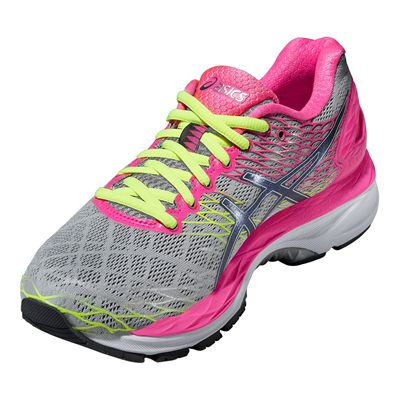 Asics Gel-Nimbus 18 Ladies Running Shoes-Silver and Pink-Angle View