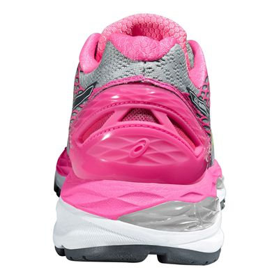 Asics Gel-Nimbus 18 Ladies Running Shoes-Silver and Pink-Back View