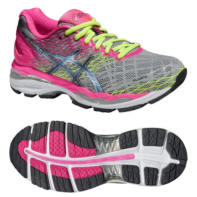 Asics Gel-Nimbus 18 Ladies Running Shoes-Silver and Pink