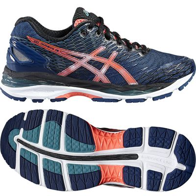 Asics Gel-Nimbus 18 Ladies Running Shoes-Blue/Orange