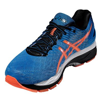 Asics Gel-Nimbus 18 Mens Running Shoes-Blue and Orange and Black-Angled View