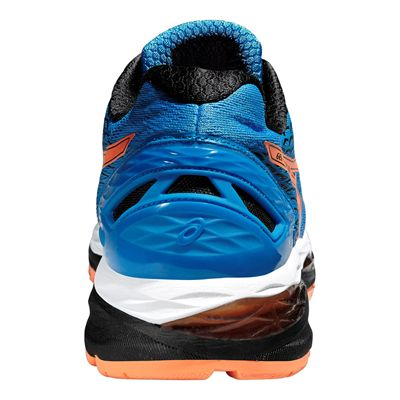 Asics Gel-Nimbus 18 Mens Running Shoes-Blue and Orange and Black-Back View