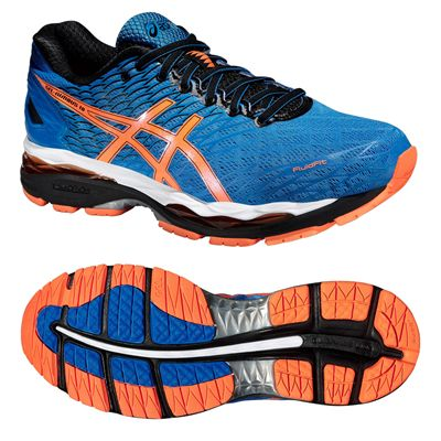 Asics Gel-Nimbus 18 Mens Running Shoes-Blue and Orange and Black