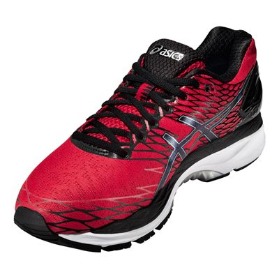 Asics Gel-Nimbus 18 Mens Running Shoes-Red and Black and Silver-Angle View