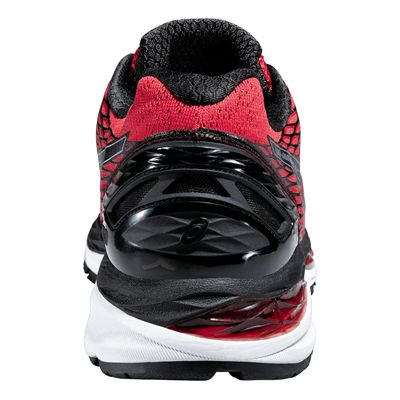 Asics Gel-Nimbus 18 Mens Running Shoes-Red and Black and Silver-Back View