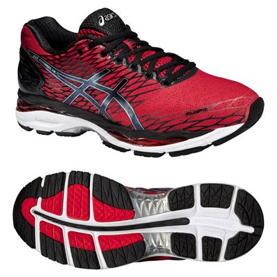 Asics Gel-Nimbus 18 Mens Running Shoes-Red and Black and Silver