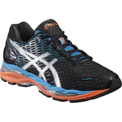 Asics Gel-Nimbus 18 Mens Running Shoes-Black/Silver/Blue-Angled