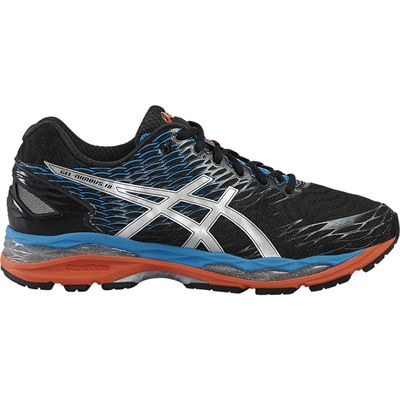 Asics Gel-Nimbus 18 Mens Running Shoes-Black/Silver/Blue-Side