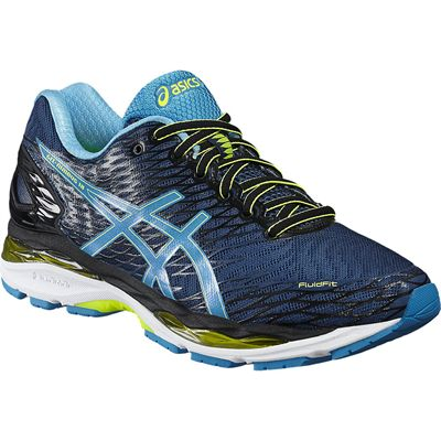 Asics Gel-Nimbus 18 Mens Running Shoes-Navy/Blue/Green-Angled