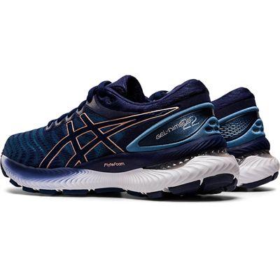 Asics Gel-Nimbus 22 Ladies Running Shoes - Navy - Slant