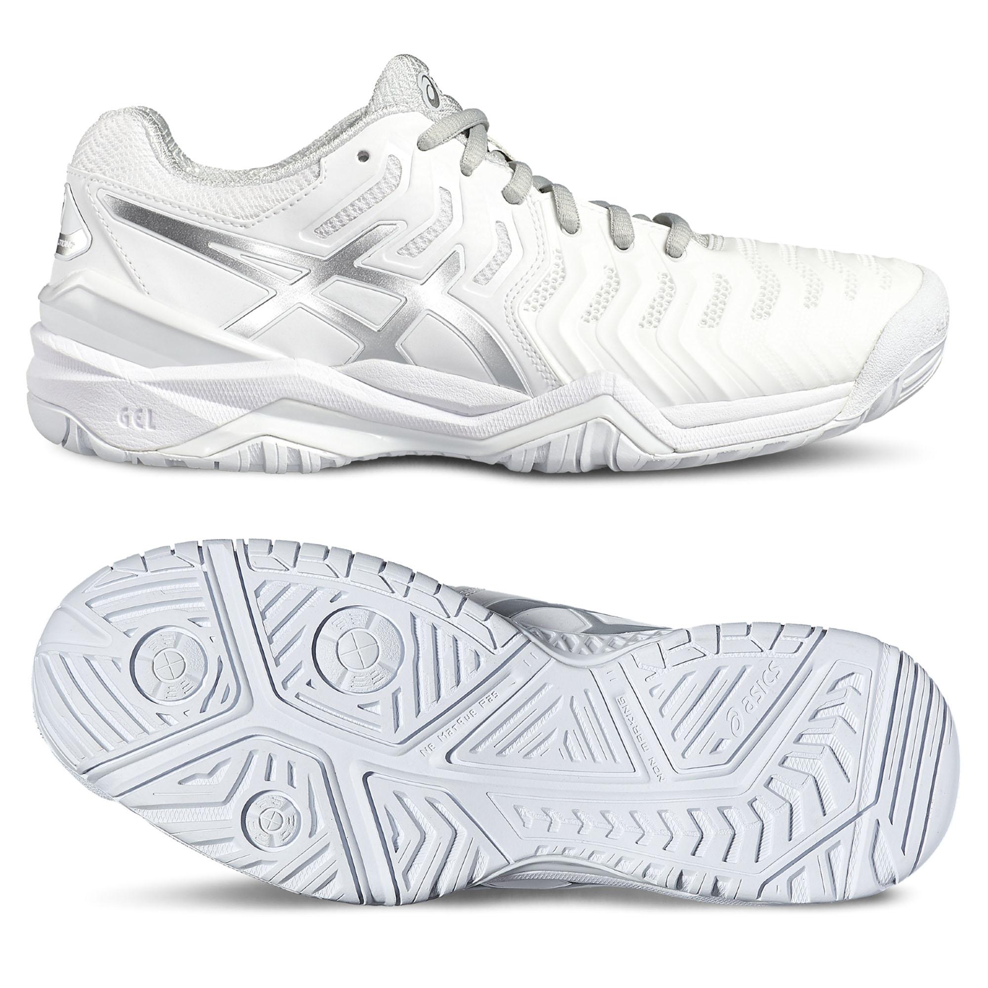 Asics GelResolution 7 Ladies Tennis Shoes  WhiteSilver 7.5 UK