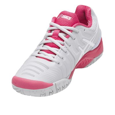 Asics Gel-Resolution 7 Ladies Tennis Shoes AW17 Pink - Angled