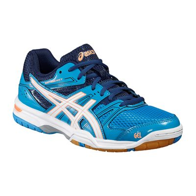 Asics Gel-Rocket 7 Ladies Indoor Court Shoes-Blue-White-Orange-Angled