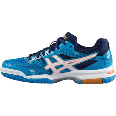 Asics Gel-Rocket 7 Ladies Indoor Court Shoes-Blue-White-Orange-Side