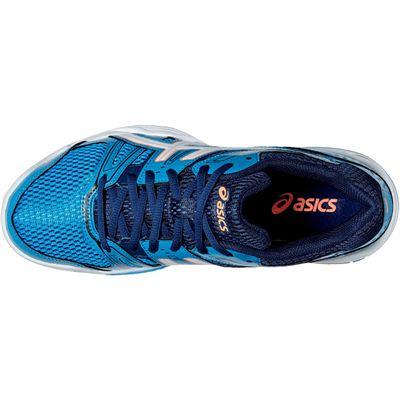 Asics Gel-Rocket 7 Ladies Indoor Court Shoes-Blue-White-Orange-Top