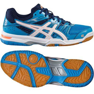 Asics Gel-Rocket 7 Ladies Indoor Court Shoes-Blue-White-Orange